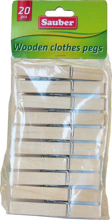 Sauber Laundry Pegs Wood 20PCS