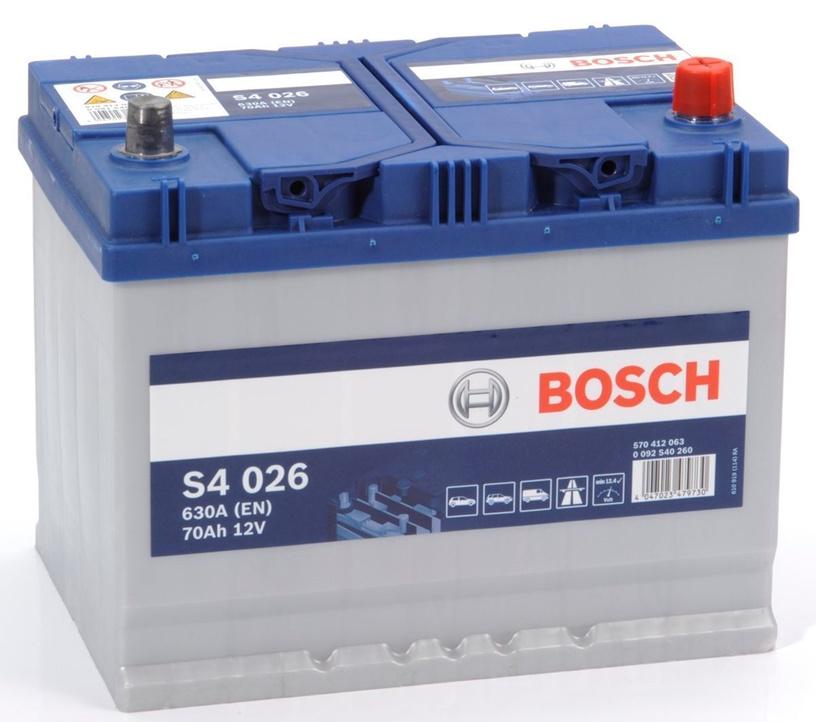 Akumuliatorius Bosch S4 026, 12 V, 70 Ah, 630 A