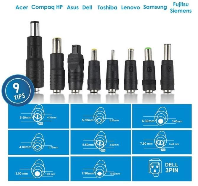 Whitenergy Universal Notebook AC Adapter 15-24V 70W