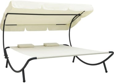 Lamamistool VLX Outdoor Lounge Bed With Canopy 48068, beež