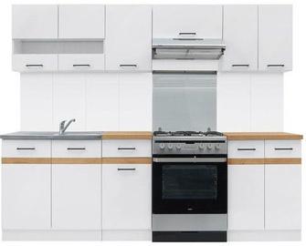 Virtuvės baldų komplektas Black Red White Junona White/Oak, 2.4 m
