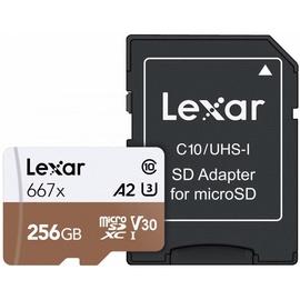 Lexar 256GB Professional 667x microSDXC UHS-I Card U3 V30 + SD Adapter