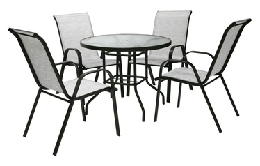 Home4you Dublin Table And 4 Chair Set Silver Grey
