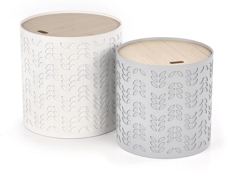 Kafijas galdiņš Halmar Alba, balta/pelēka, 390x390x400 mm