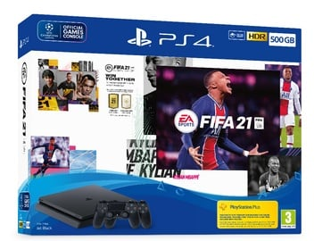 Sony Playstation 4 (PS4) Slim 500GB Black + 2xDualShock + FIFA 21