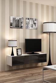 TV staliukas Cama Meble Vigo 140 White/Black Gloss, 1400x300x400 mm