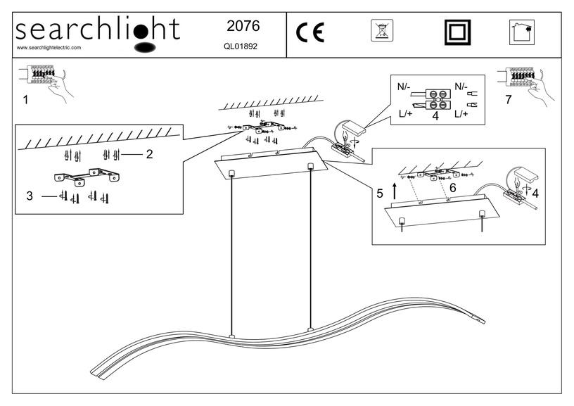 Pakabinamas modernus šviestuvas Searchlight 2076SS, 10W LED