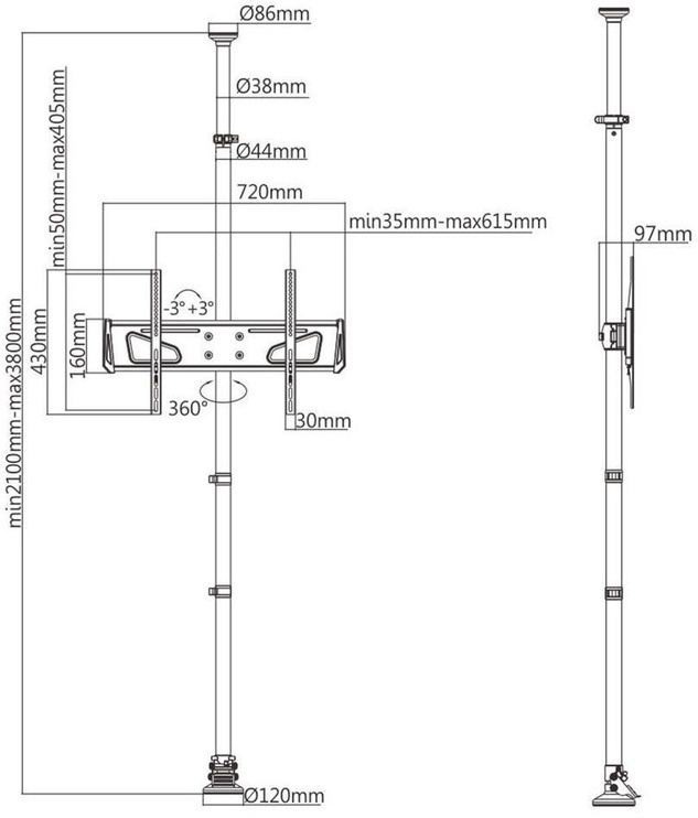 Maclean MC-791 Ceiling and Floor TV Holder