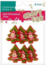 Craft With Fun Decorative Felt Christmas Tree 6pcs