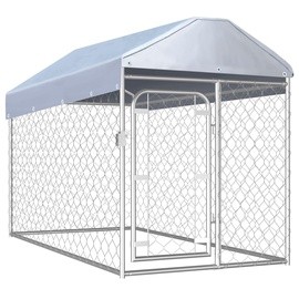 Koerapuur VLX Outdoor Dog Kennel w/ Roof Silver, 2000x1000x1000 mm