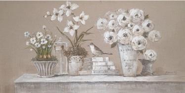 Home4you Linen Oil Painting Flower Vases 60x120cm