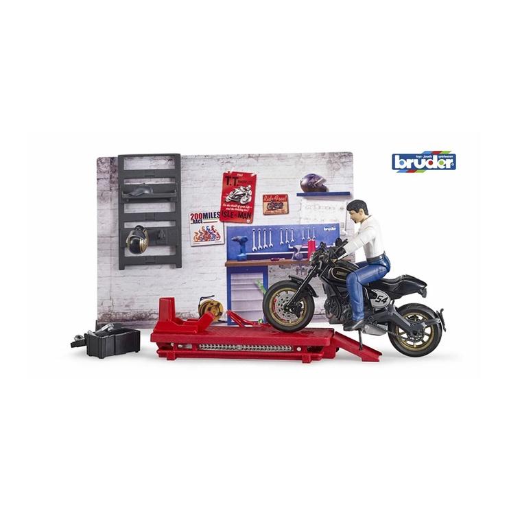 Žaislinis Bruder rinkinys motociklų servisas