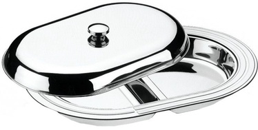 Tramontina Stainless Steel Double Compartment Plate with Lid 45 x 31cm
