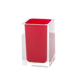 Glāze zobu birstēm Gedy Rainbow RA98 06 7,2x7,2x11cm, sarkana