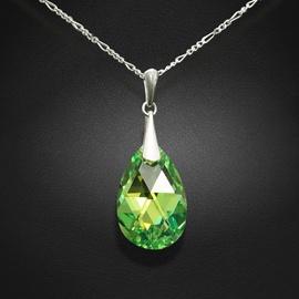 Diamond Sky Pendant Baroque Peridot AB With Crystals From Swarovski