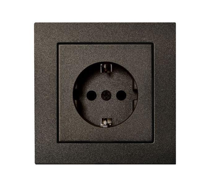 Kištukinis lizdas Liregus Epsilon, su įžeminimu, juodos sp., be rėmelio