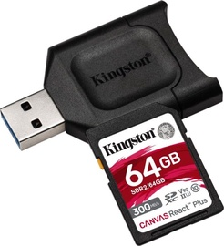 Kingston Canvas React Plus 64GB SDXC UHS-II Class 10 w/Adapter