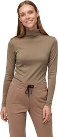 Audimas Merino Wool Long Sleeve Roll Neck Top Pine Bark S