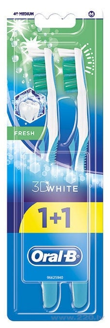 Oral-B 3D White Fresh 40 Medium 1+1 Toothbrush