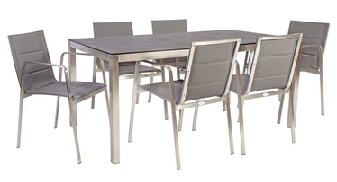 Home4you Beverly Table And 6 Chairs Set Grey