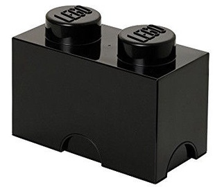 LEGO Storage Brick 2 Knobs Black
