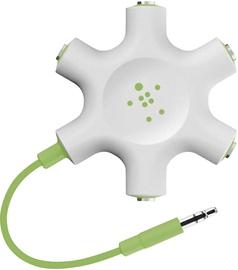 Belkin RockStar 5-Jack 3.5mm Audio Headphone Splitter White Green