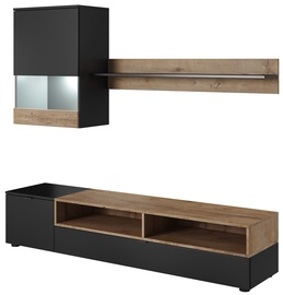 Cama Meble Wall Unit PAT Black/Oak 180x39cm