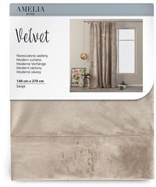 Öökardin AmeliaHome Velvet Pleat, liivakarva pruun, 1400x2700 mm