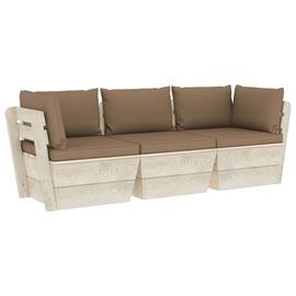 Комплект уличной мебели VLX 3-Seater Pallet Sofa With Cushions, коричневый, 3 места
