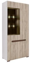 Black Red White Azteca Glass Cabinet REG1W1D San Remo Oak/White