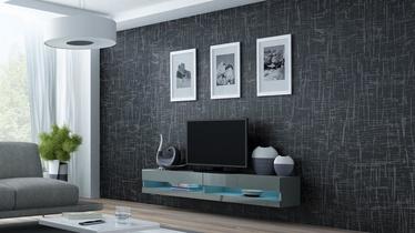 TV staliukas Cama Meble Vigo New 180 Grey/Grey Gloss, 1800x300x400 mm