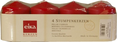 Eika Pillar Candles 8x6cm Red 4pcs