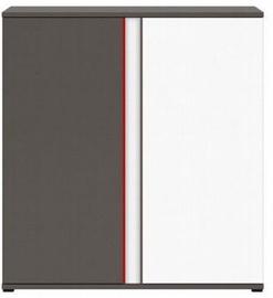 Black Red White Chest Wolfram Grey/Red/White