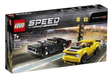 Konstruktorius LEGO®Speed Champions 75893 2018 Dodge Challenger SRT Demon ir 1970 Dodge Charger R/T