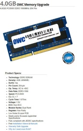 OWC Apple 4GB 1066MHz CL7 DDR3 SODIMM OWC8566DDR3S4GB