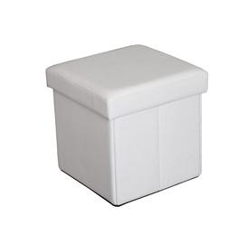 Pufas su daiktadėže, baltas, 38 x 38 x 38 cm