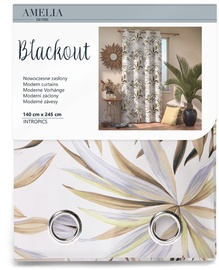 AmeliaHome Blackout Intropics Curtains Brown 140x245