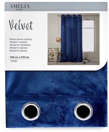 Nakts aizkari AmeliaHome Velvet, zila, 1400x2700 mm