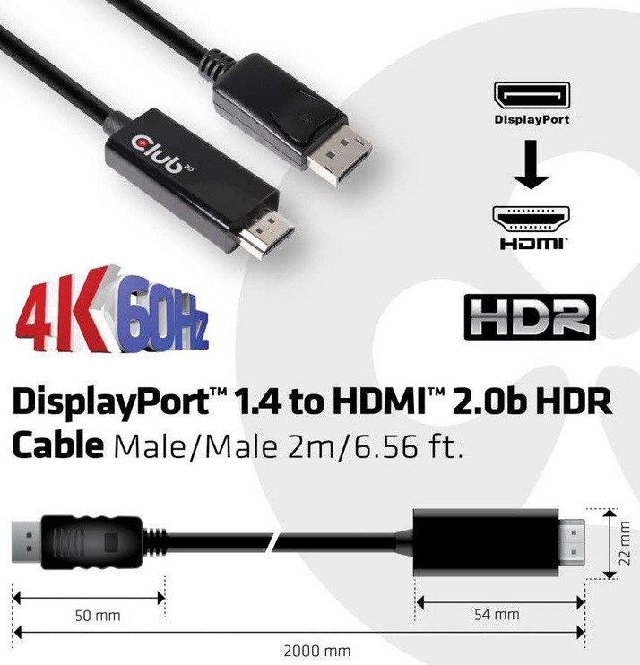 Club 3D DisplayPort 1.4 Cable To HDMI 2.0b Active Adapter 2m Black