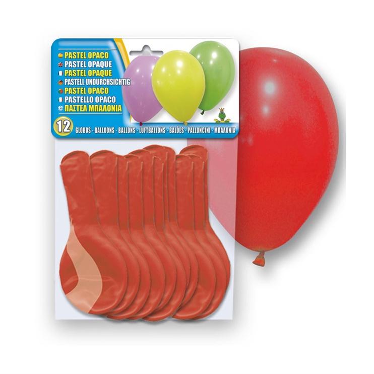 Balionai, ovalūs, raudoni 12 vnt