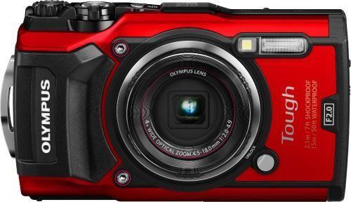 Olympus TG-5 Red + Neoprene Case Blue