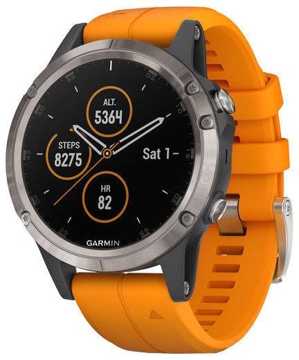 Garmin Fēnix 5 Plus Sapphire 47mm Titanium Solar Flare Orange