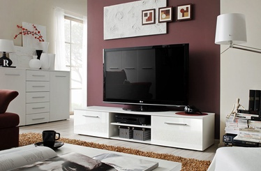 TV-laud ASM Bono II White/White Gloss, 1800x450x350 mm