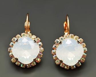 Diamond Sky Earrings Glare III White Opal With Swarovski Crystals
