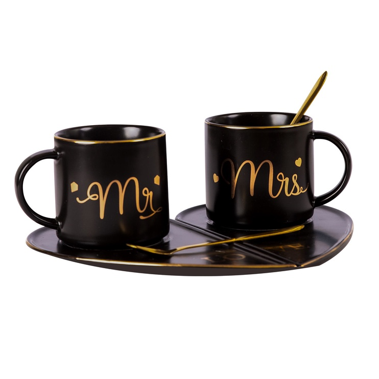 Home4you Mr&Mrs Marble Cup Set Black