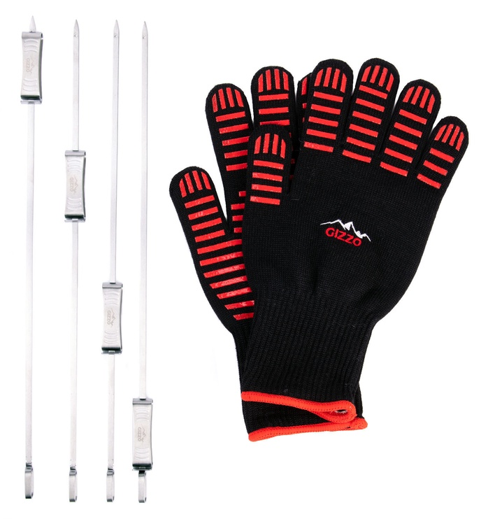 Gizzo BBQ Gloves + Sliding Skewers 4pcs