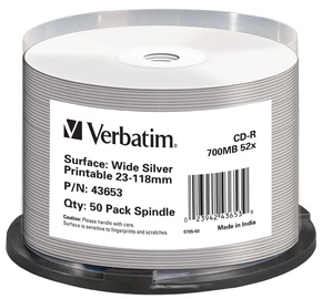 Verbatim CD-R AZO 52X 700MB Silver Printable 50P Spindle