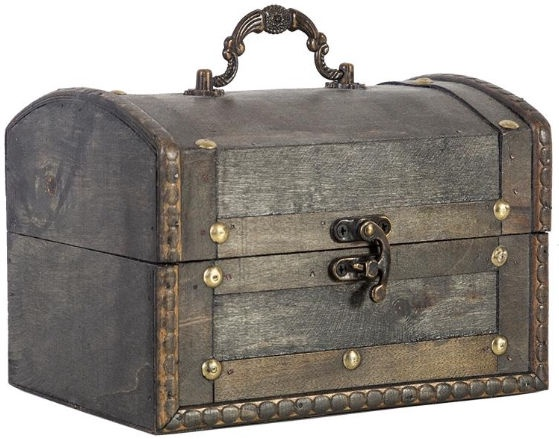 Home4you Wooden Chest BAO 18x13.5xH12.5cm With Handle/Antique Gray