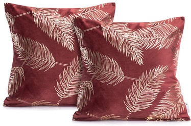DecoKing Pillowcase Golden Leaves Burgundy 45x45 2pcs
