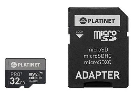 Platinet 32GB microSDHC UHS-III 615x With SD Adapter